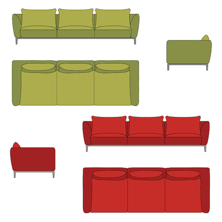 sofa set: Sofa Set Flat Vector Illustration Top Front Side View