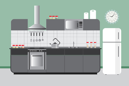 elevation: Kitchen Elevation with Cabinets Fridge Hood Microvawe. Flat Vector Interior Design in Green Grey and White Color Set Illustration