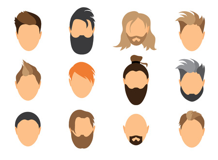 A set of mens hairstyles, beards and mustaches.Gentlmen haircuts and shaves. Digital hand drawn vector illustration. Illustration