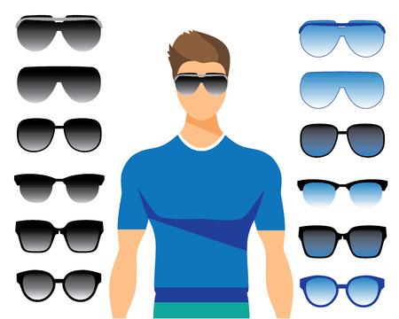 wayfarer: Vector set of different glasses on white background. Retro, vintage, wayfarer, aviator, geek, hipster frames. Man eyeglasses and sunglasses silhouettes.