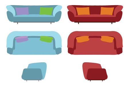 creator: Big Sofas Set. Home Office Furniture for Your Interior Design. Flat Vector Illustration. Top, Front and Side View. Scene Creator. Stock Photo