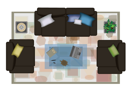 sofa set: Interior icons top view with sofa armchair couch isolated vector illustration. Scene creator realistic sofa set.