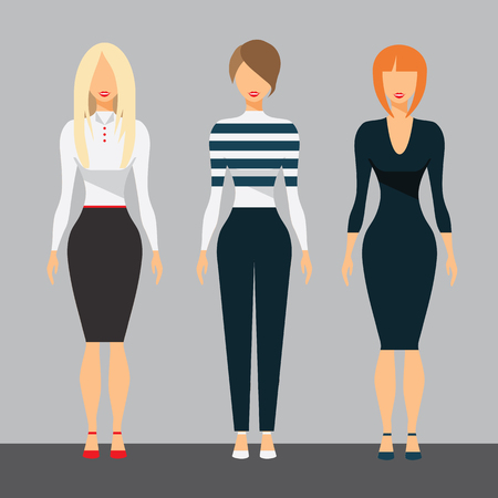 businesswoman skirt: Women in office clothes. Beautiful woman in business . Female Casual Style. Flat Vector Illustration Set