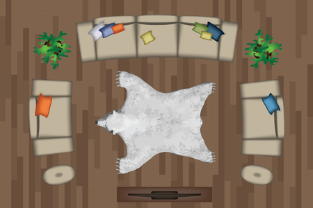 side table: Sofas Armchair Set. Furniture, Pouf, Carpet, TV, Plants, Side Table for Your Interior Design. Flat Vector Illustration. Top View. Scene Creator.Grey color Lounge with Colorful Pillows. TV, Pouf, White Bear Pelt