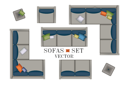 side table: Sofas Armchair Set. Furniture, Pouf, Carpet, TV, Plants, Side Table for Your Interior Design. Flat Vector Illustration. Top View. Scene Creator. Grey color Lounge with Colorful Pillows 2 Illustration