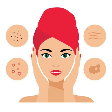 顔のケアは、皮膚の欠陥。皮膚の問題、ニキビ、脂漏症、脂漏性皮膚炎、しわ、黒ずみ。顔のケアのアイコン。美容師、皮膚科医  イラスト・ベクター素材