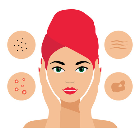 Facial Care, Skin Gebreken. Huidproblemen, Acne, Seborrhea, Seborrheic dermatitis, rimpels, donkere vlekken. Gezichtsverzorging pictogrammen. Cosmetologist, Dermatoloog