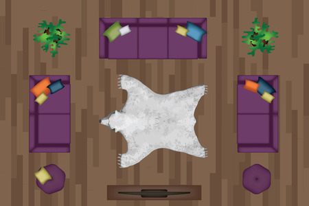 side table: Sofas Armchair Set. Furniture, Pouf, Carpet, TV, Plants, Side Table for Your Interior Design. Flat Vector Illustration. Top View. Scene Creator. Purple color Lounge with Pillows. White Bear Pelt 3