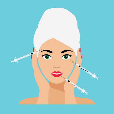 female face closeup: Face Care and Treatment Flat Vector Illustration. Mesotherapy and Injections