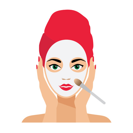 face treatment: Face Care and Treatment Flat Vector Illustration. Cleaning and Mask