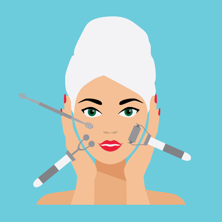 face care: Face Care and Treatment Flat Vector Illustration. Deep Cleaning