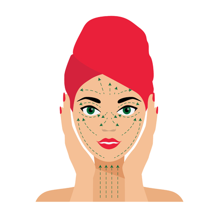 face treatment: Face Care and Treatment Flat Vector Illustration. Massage Lines