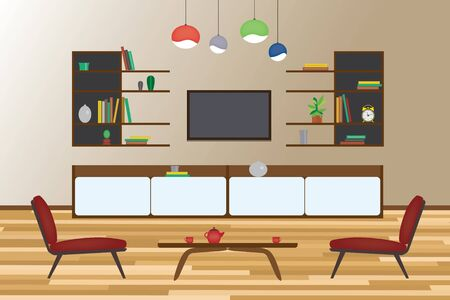 dining room: Home Interior flat vector design. Living room and dining room with furniture. Set Illustration