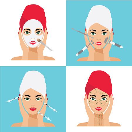 얼굴 관리 및 치료 플랫 벡터 일러스트 레이 션 설정합니다. 주사 요법, 주사, 마스크, 마사지 라인.