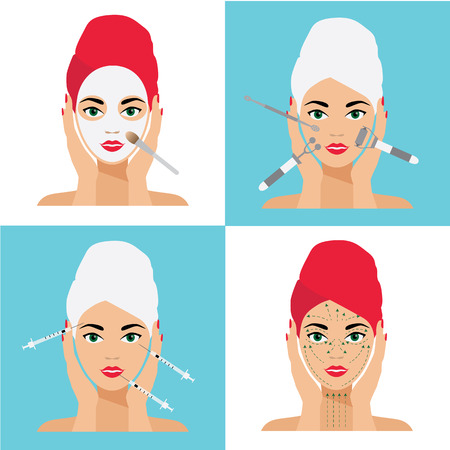 injections: Face Care and Treatment Flat Vector Illustration Set. Mesotherapy, Injections, Mask, Massage Lines.