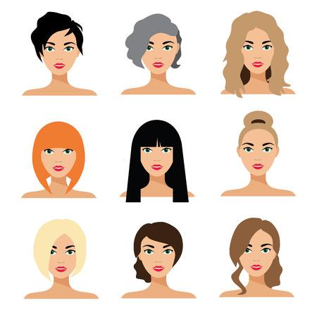 Ensemble de coiffure de femme illustration vectorielle à plat. Banque d'images - 60314841