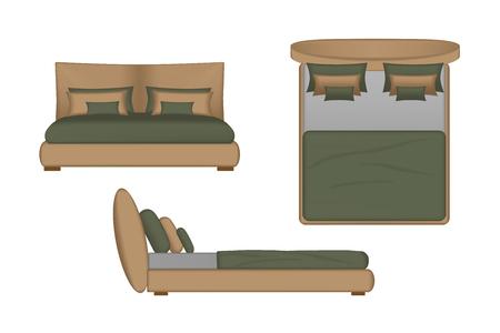 creator: Ilustraci�n 3D realista cama. Superior, frontal, vista lateral para su dise�o Inter. creador escena
