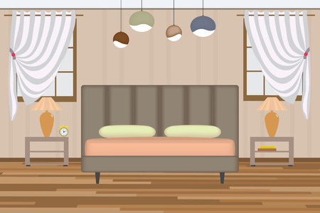 headboard: Bedroom Illustration. Elevation Room with Bed, Side Table, Lamp, Window and Curtains. Furniture Set for Your Interior Design. Illustration