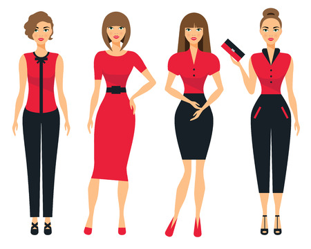 official wear: Set of business clothes for women. Woman in office clothes. Flat Vector Illustration.