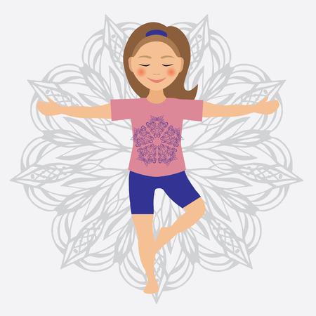 positions: Vector illustration of kid yoga positions. Children activities Set Illustration
