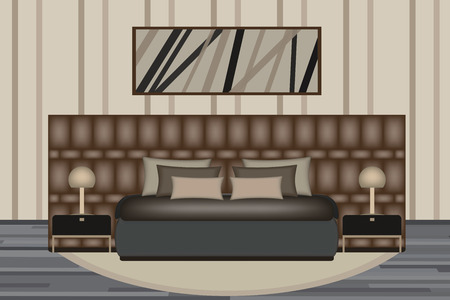 headboard: Bedroom Illustration. Elevation Room with Luxury Bed, Side Table and Lamp. Furniture Set for Your Interior Design.