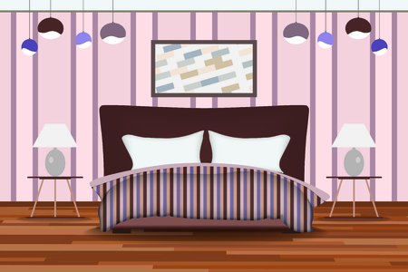 headboard: Bedroom Illustration. Elevation Room with Bed, Side Table, Lamp, Window and Curtains. Furniture Set for Your Interior Design .