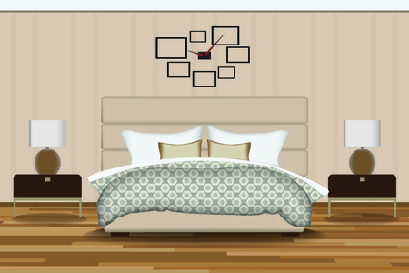 elevation: Bedroom Illustration. Elevation Room with Bed, Side Table, Lamp, Window and Curtains. Furniture Set for Your Interior Design .