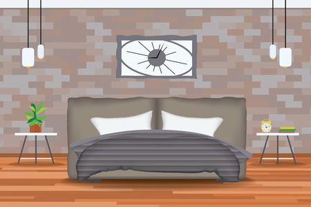 bedroom wall: Loft Style Interior Design Vector Illustration.Bed in Front of Brick Wall with Side Tables,Chandeliers,Clocks, Plants.Cartton Bedroom with Parquet Floor.Bedroom Elevation.Bedding and Bedroom Furniture Set.