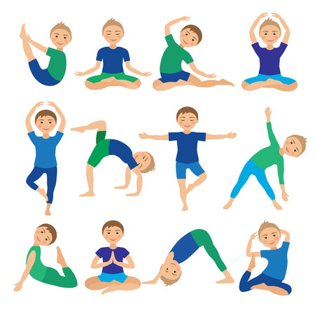Kids Yoga Poses Vector Illustration. Child doing exercises. Posture for Kid. Healthy Children Lifestyle. Babies gymnastics. Sports Boys on White Background. Oriental Meditation and Relaxation. Stock Vector - 60314870