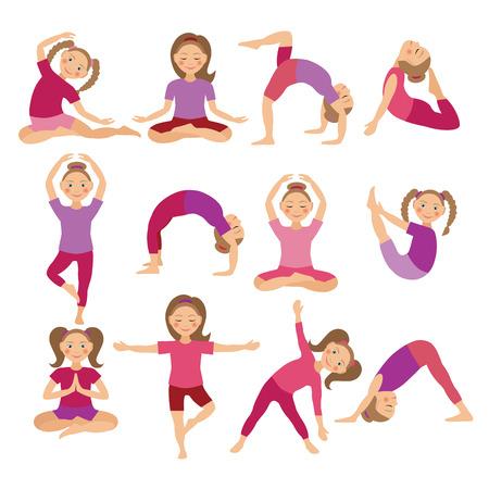 fondo para bebe: Yoga Poses niños Ilustración vectorial. Niño de hacer ejercicios. Postura de Kid. Estilo de vida saludable para niños. Bebés gimnasia. chicas deportivas sobre fondo blanco. La meditación oriental y Relajación. Vectores