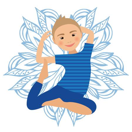 fondo para bebe: Yoga niños plantean ilustración vectorial. Niño de hacer ejercicios. Postura de Kid. Estilo de vida saludable para niños. Bebés gimnasia. Boy deportes en el fondo blanco. La meditación oriental Relajación. mandala