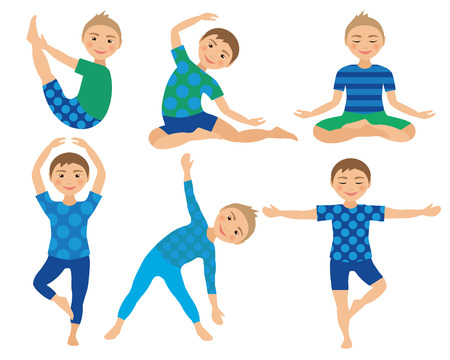 Kids Yoga Poses Vector Illustration. Child doing exercises. Posture for Kid. Healthy Children Lifestyle. Babies gymnastics. Sports Boys on White Background. Oriental Meditation and Relaxation. Vector Illustration