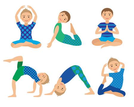 fondo para bebe: Yoga Poses niños Ilustración vectorial. Niño de hacer ejercicios. Postura de Kid. Estilo de vida saludable para niños. Bebés gimnasia. Deportes masculinos sobre fondo blanco. La meditación oriental y Relajación.