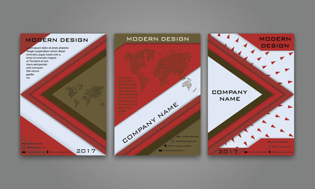 broshure: Abstract Modern Business Flyer, Brochure, Poster, Annual Report, Magazine Cover Vector Template in Red and Brown Color. Modern Material Design. Geometric Triangular Material Background. Layout A4 Size Illustration