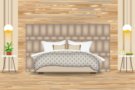 bedding: Modern Style Interior Design Vector Illustration.Bed in Front of Parquet Wall. Side Tables,Chandeliers,Artwork.Cartoon Bedroom, Parquet Floor. Elevation. Bedding and Furniture. Illustration