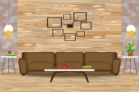 wooden floor: Modern Style Interior Design Vector Illustration.Sofa in Front of Wood Wall. Side Tables,Chandeliers,Clock. Cartoon Living Room with Parquet Floor.Front Elevation.Rest room Furniture. Illustration