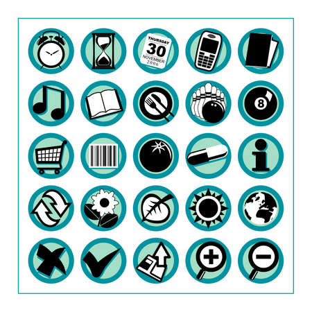 Useful Icons 2 - Version 1: Collection of 25 different useful icons #2 - Version 1. Please check other versions and sets. 版權商用圖片