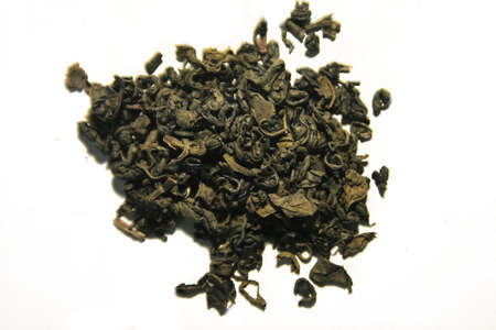 sencha: Traditional green tea Sencha against white background Stock Photo