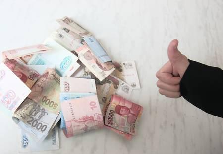 Positive reaction to profitable deal that earned money finances,  photo