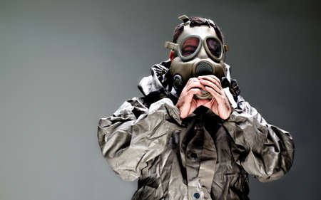 chemical attack gas mask man photo
