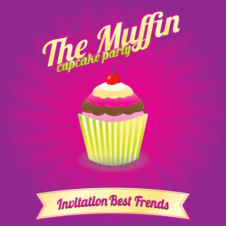 The Muffin Cupcake party   Invitation Best Frends Vector