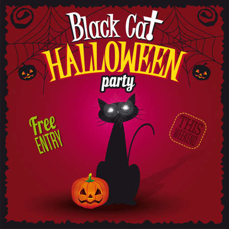 Happy Halloween Black Cat Party Vector