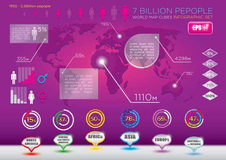 demographics: world demographics set of infographic elements  World map and six continents  7 billion people Illustration