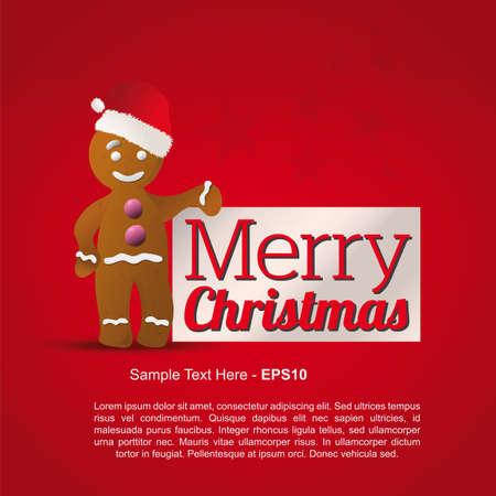 Gingerbread Merry Christmas greetings Stock Vector - 23362110
