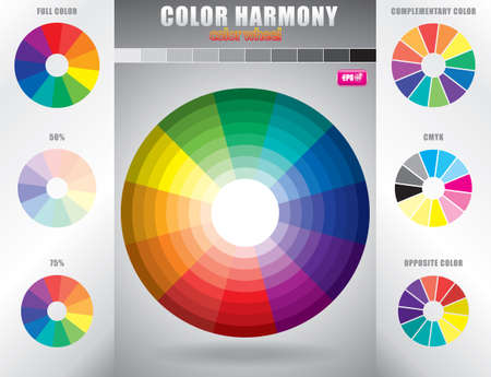 color chart: Color harmony Color wheel with shade of colors
