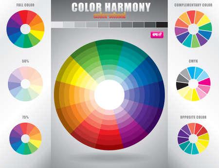 de cor: Harmonia de cores roda de cor com tonalidade de cores Ilustração