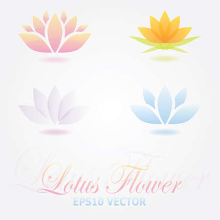Lotus flower logo spa set Vector