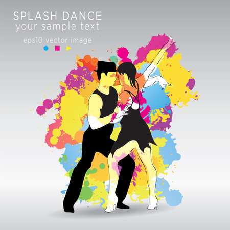 merriment: latin dancing girl and man colorful splashes