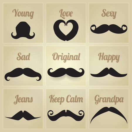 Vector set of hipster mustache Vector