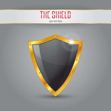 The Shield, Black shield with gold border Stock Vector - 23511139